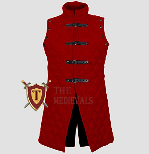 Medieval Gambeson Thick Padded Coat Aketon Jacket Armor - Red Cotton Fabrics, Medium