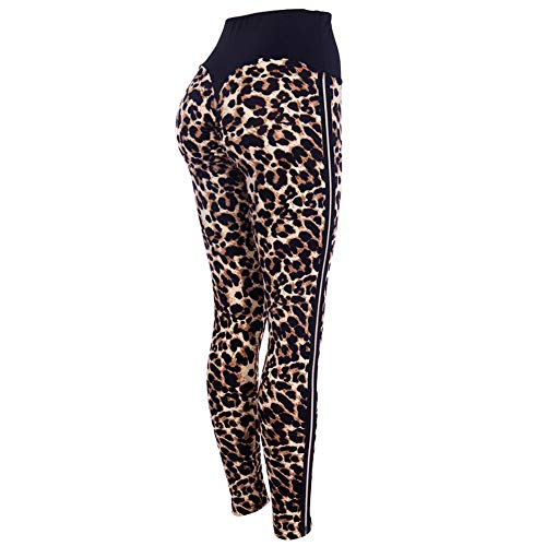 lumiyo Womens Yoga Pants Stretchy Skinny High Waisted Ruched Butt Lifting Long Workout Leggings (L, Leopard Print) -