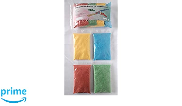 Azúcar para algodón de azúcar colorido con sabor 4 x 200 g - manzana - fresa - plátano - frambuesa azul ✓ perfecto para cualquier máquina de algodón de ...