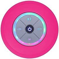 Elitehood Wireless Waterproof Bluetooth 4.0 Speakers Mini Water Resistant Wireless Shower Colorful LED Effec Handsfree Portable Speakerphone with Built-in Mic (Pink)