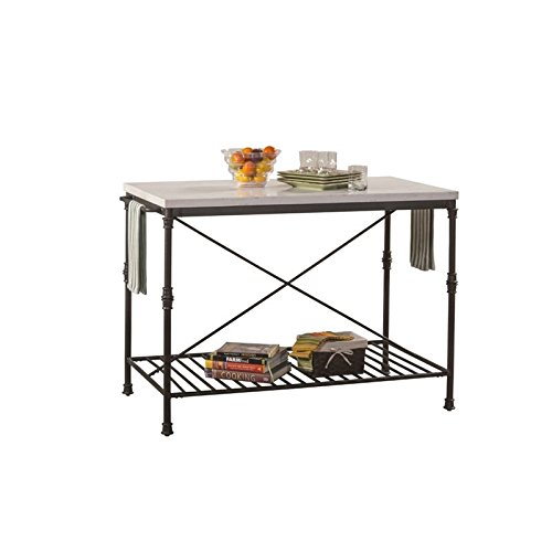 Hillsdale Furniture Kitchen Island in Textured Black and White Finish Review