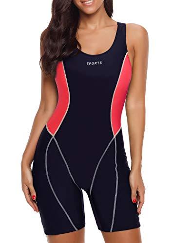 (Yateen Womens Boy-Leg One Piece Swimsuit Pro Racerback Swimwear Racing Bathing Suit)