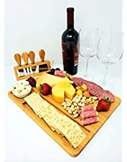 Charcuterie Bamboo Cheese Board and Knives Set with Ceramic Bowl - Serving / Appetizer / Fruit Tray