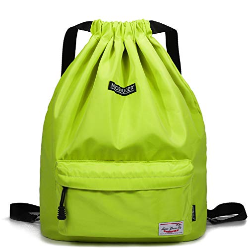 WANDF Drawstring Backpack String Bag Sackpack Cinch Water Resistant Nylon for Gym Shopping Sport Yoga (Yellow 6032) ()