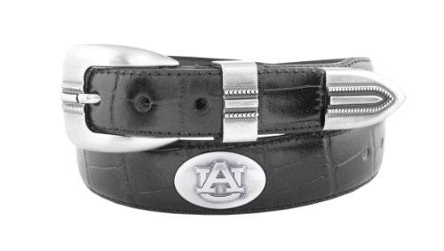 Auburn Tigers Black Leather (NCAA Auburn Tigers Black Crocodile Tip Leather Concho Belt, 38)