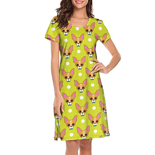 (Chihuahua Dog Face and Dots Yellow Womens Sleepwear Nightshirt for Women)