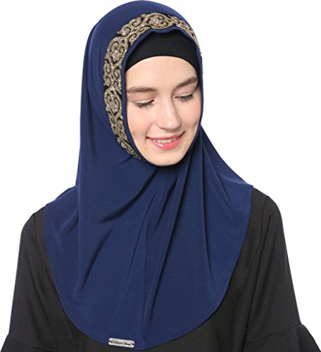 Ababalaya Women's Muslim Glitter Sequins Solid Jersey Headscarf Instant Hijab Ready to Wear Hijab,Navy Blue by Ababalaya (Image #4)