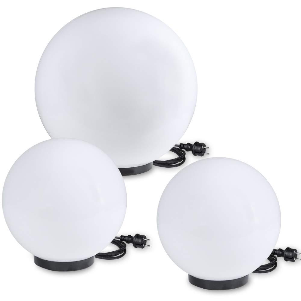 Bagliore palla Set di 3 per il tuo Giardino Sfere in Ø40cm, Ø60cm Luci con 2m Cavo di gomma spina Luci da esterni da resistente agli urti Acrilico