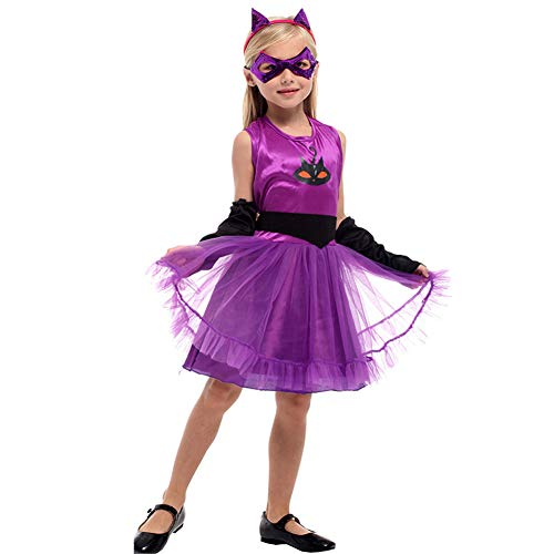 LOLANTA Children Halloween Catwoman Girl's Costume Cosplay Dress up with Mask Headband (8-10)