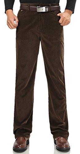 XinAndy Men's Brown Casual Pant Velvet corduroy Trousers