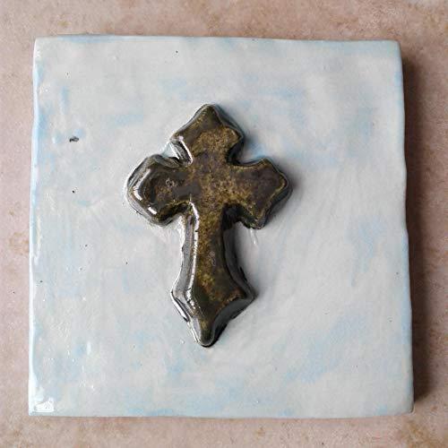 Templar Cross Fine Porcelain Decorative Tile Gold Pale Turquoise Celtic Cross Wall Decor Christian Mosaic Art