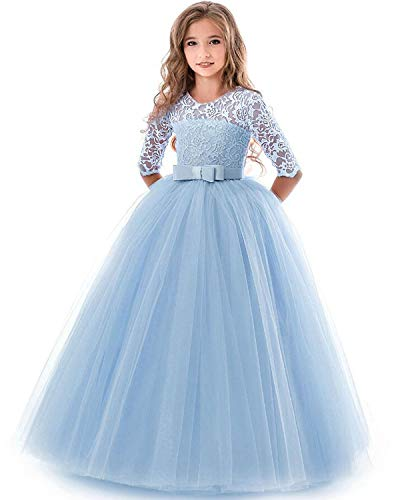 NNJXD Girls Pageant Embroidery Ball Gown Princess Wedding Dress Size (140) 8-9 Years Blue for $<!--$24.99-->