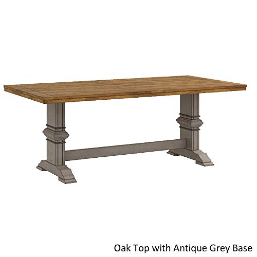 Inspire Q Eleanor Two-Tone Rectangular Solid Wood Top Dining Table by Classic Grey Antique, Grey Finish, Oak Finish
