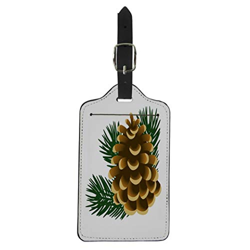 Semtomn Luggage Tag Brown Single Pinecone and Twigs of Pine Tree the Suitcase Baggage Label Travel Tag Labels
