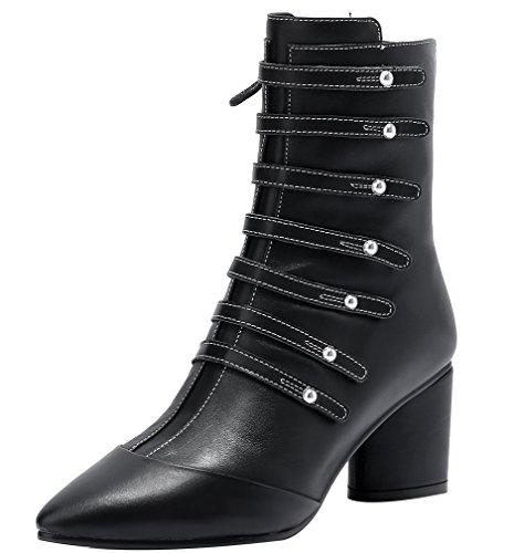 ELEHOT Womens Elemodel 6.5CM mid-heel Boots, Black, 8.5