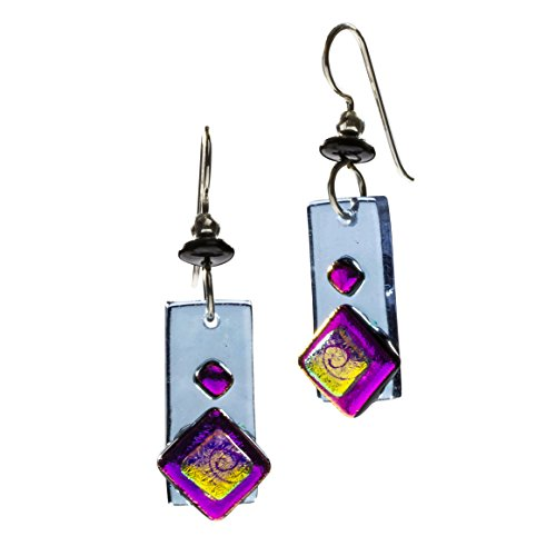 DeVeer Designs Handcrafted Artisan Dichroic Fused Glass Rectangular Dangle Earrings - Butterfly Bush (Butterfly Fused Glass)
