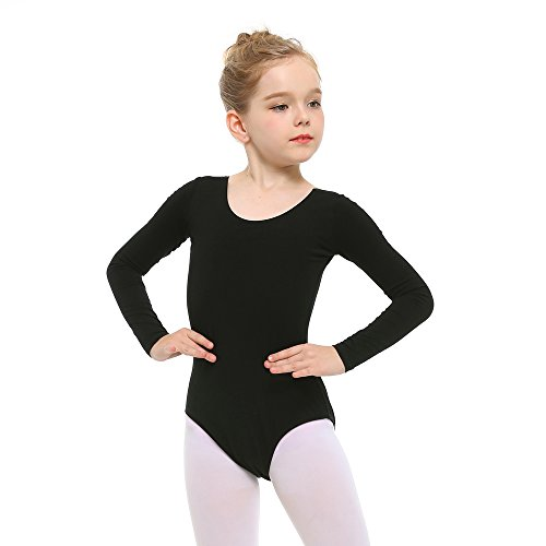 Cotton Sleeve Long Tights (Stelle Girls' Long Sleeve Cotton Leotard for Dance, Gymnastics and Ballet (Toddler/Little Kid/Big Kid)(100cm,Black))