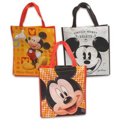 Large Vintage Style Reusable Mickey Mouse Face Non-Woven Grocery Tote Bag (Set of 3)