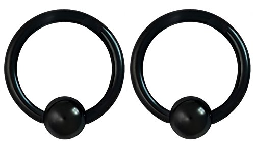 14g 12mm Black Surgical Steel Captive Bead Body Piercing Hoops -