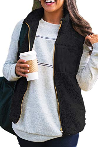 Gilet D'hiver Outwear Fuzzy Veste Noir Manteau Femme Yacun IxqSgw7w