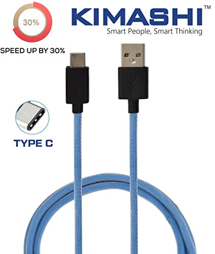 Kimashi KIMTC1 BL Type C to USB A Cable   3.3 Feet  1 Meter     Blue