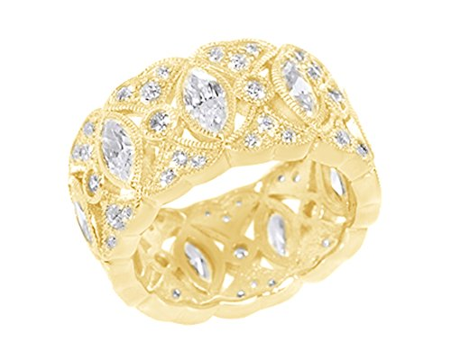 Valentine's Day Gifts Marquise Shape White Cubic Zirconia Milgrain Eternity Band Ring in 14k Yellow Gold Over Sterling Silver
