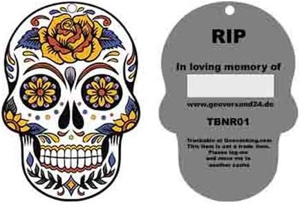 geo-versand Geocaching TravelTag Travelbug Totenkopf Skull RIP Trackable Nummer Groundspeak