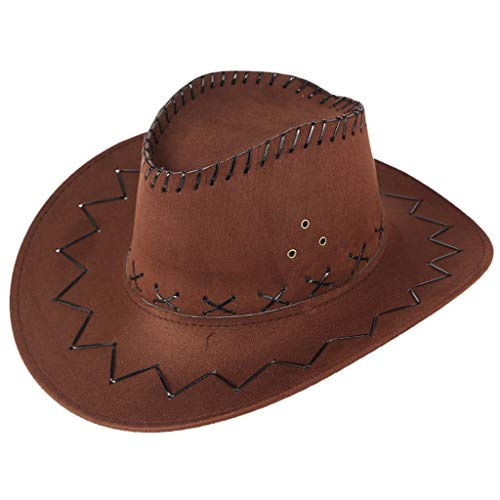 Sunskyi Men West Cowboy Hat Summer Outdoor Travel Mongolian Hat Grassland Visor Sunshade Cap Coffee