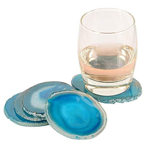 (Gems Crafts Stone Pad Semi Precious Agate Slice Coaster Cup Mug Glass Drink Holder Druzy Geode Table Onyx mat Irregular - Blue)