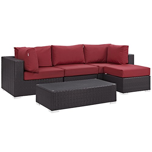 Modway Convene Wicker Rattan 5-Piece Outdoor Patio Sectional Sofa Furniture Set in Espresso Red