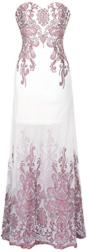 Transparente Floral Noche Largo Rosa Vestido fashions Diseno de Bordado Angel Mujer Blanco de YU6wxX