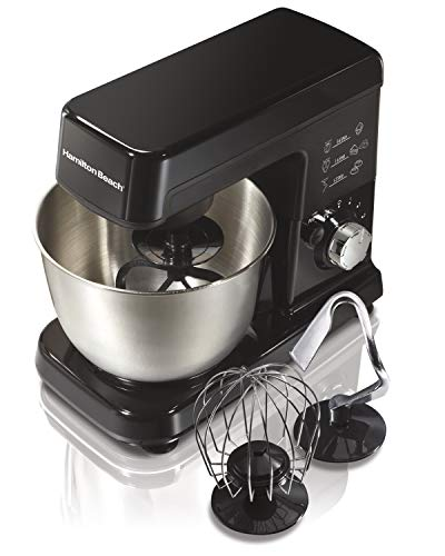 Hamilton Beach 6 Speed Electric Stand Mixer with Stainless Steel 3.5 Quart Bowl, Planetary Mixing, Tilt-Up Head (63325), 300 Watt Motor, Black