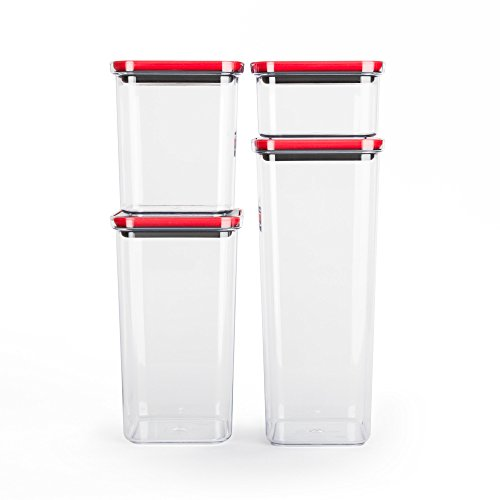 Smart Seal Airtight Food Storage Container, 4 Piece Set, Modular, Stackable, Nestable, Organizable, BPA free by Neoflam
