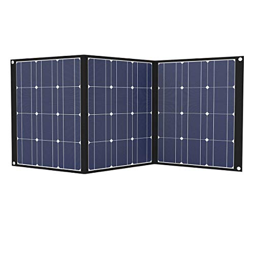 TISHI HERY 100W Portable Solar Panel 18V 12V Monocrystalline Foldable Solar Charger Kit with MC4 Connector for Solar Generator, Outdoors, Camping, RV, Boat