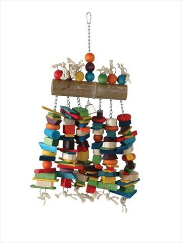 Caitec Bamboo Log Bird Chew Toy, Colorful &Entertaining, Great for Chewing, 25 x 15 x 4,X-Large
