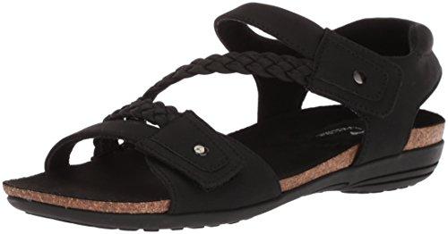 Easy Street Kvinners Sone Flat Sandal Sort