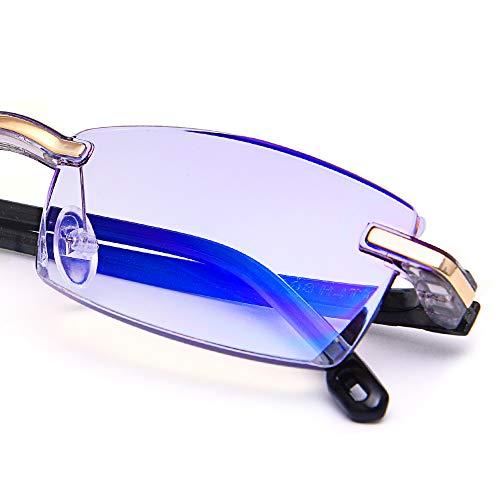 LUFF Reading Glasses Hd Anti-Blue Diamond Cut Edge Frameless Reading Glasses for Mens(+1.0)
