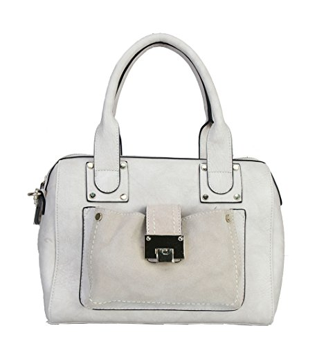 rimen-co-satin-pu-leather-fashion-front-toggle-pocket-zipper-womens-satchel-purse-handbag-rm-2092-be