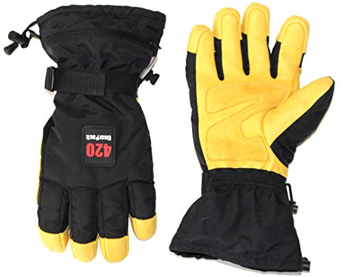 GnarPack 420 Winter SKI GLOVE - Water Resistant 3M Thinsulate Insulation Goatskin Palm and Fingers with Double Reinforced Z patch on high wear areas. Zippered Pocket (Extra Large)
