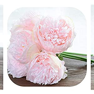 Memoirs- 5 Heads Artificial Flowers Peony Bouquet Silk Peony Flowers Bridal Bouquet Fall Vivid Fake Flowers for Wedding Home Decoration,Light Pink 54