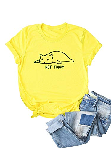 Festnight Women's Not Today Crazy Cat T Shirts Graphic Cute Funny Cotton Short Sleeve Blouse Cartoon Cat Letters Print Tops Yellow