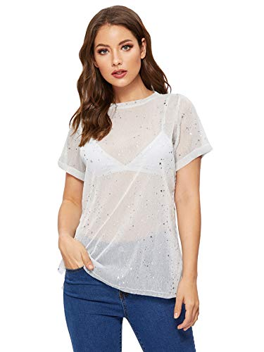 (WDIRARA Women's Glitter Sheer See Through Short Sleeve Mesh Top Tee Blouse 1-White)