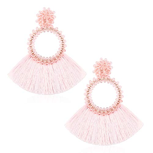 Tassel Bead Statement Earrings for Women Girls Handmade Bohemian Transparent Beaded Hoop Thread Fringe Dangle Trendy Daily Studs Ear Jewelry Accessory Present for Wife Her with Gift Box GUE130 Pink
