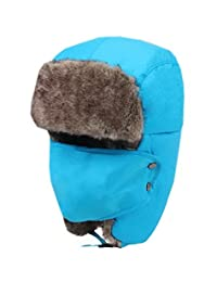 Waterproof Thick Blue Outdoor Skiing Hat for Adult with Mask