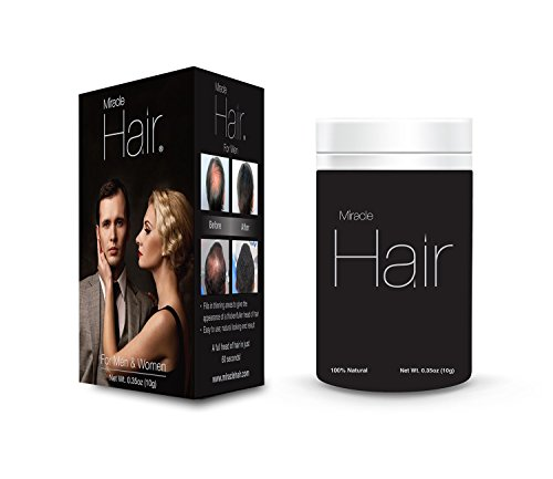 Miracle Hair PREMIUM All Natural Hair Building Fibers for Instantly Thicker Looking Hair! (25g) 75-Day Supply: DARK BROWN by Miracle Hair