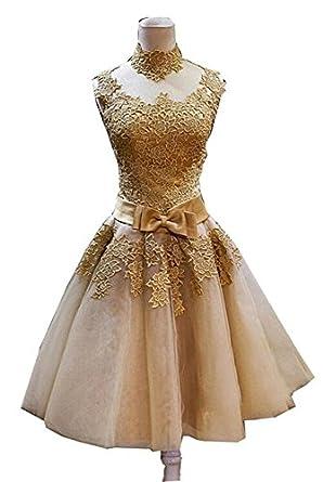 QueenBridal Ready Wholesale Price Gold Appliques Lace Women Short Evening Dresses