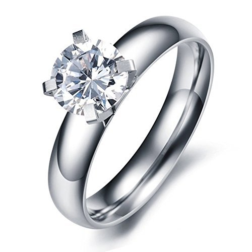 (Paialco Jewelry Titanium Steel Solitaire Engagement Ring 1ct Diamante White CZ , #7)