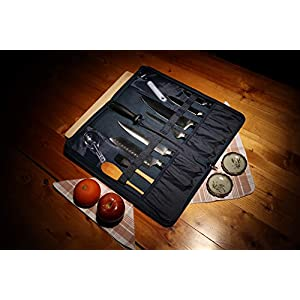 Premium Chef Knife Folder Case Organizer Bag | Portable Travel Storage – 8 Knives Tools Holder PLUS Honing Rod Slot…