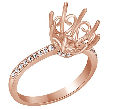 AFFY White Natural Diamond Semi Mount Engagement Round Ring in 14k Solid Rose Gold (0.16 Ct)