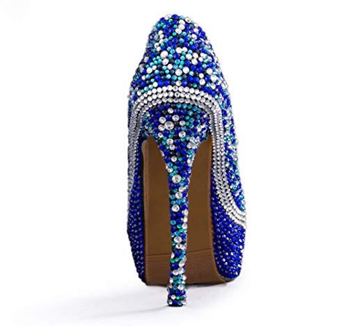 da di Cristallo Banchetto Banchetto Banchetto da Donna Scarpe da 14cm con con con Tacco Scarpe Alto Blu Donna Shiney aFxwRq44